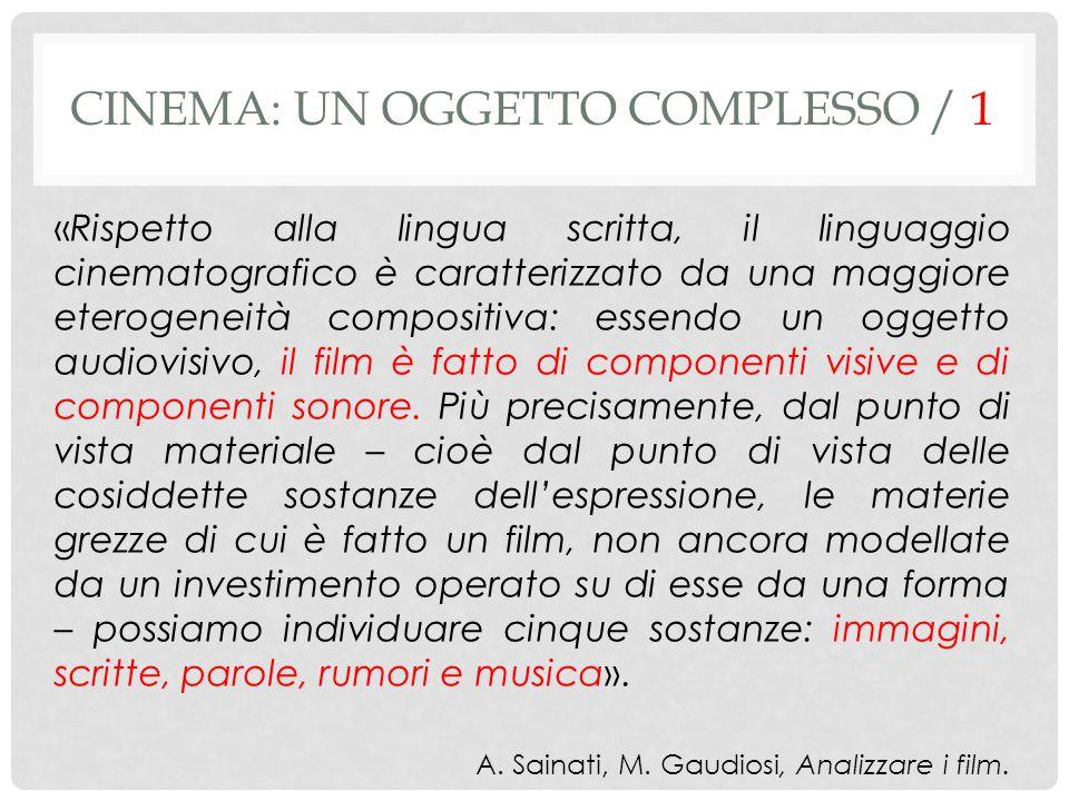 «Rispetto alla lingua scritta, il linguaggio cinematografico è caratterizzato da una maggiore eterogeneità compositiva: essendo un oggetto audiovisivo, il film è fatto di componenti visive e di componenti sonore.