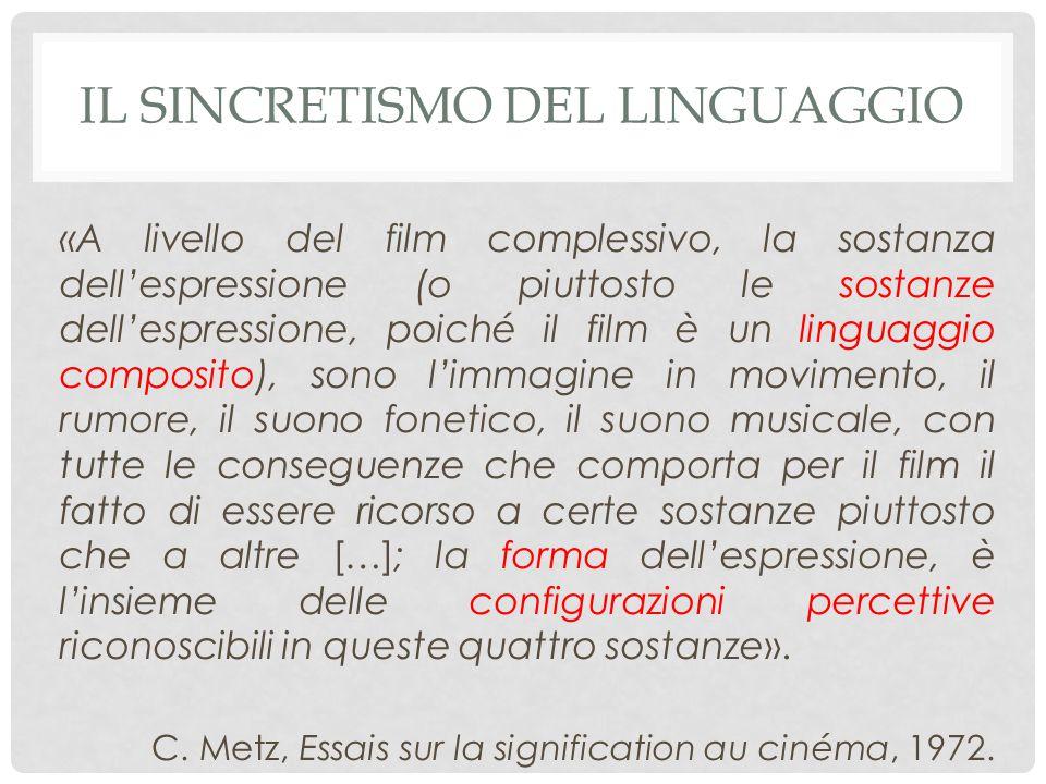 «A livello del film complessivo, la sostanza dell'espressione (o piuttosto le sostanze dell'espressione, poiché il film è un linguaggio composito), sono l'immagine in movimento, il rumore, il suono fonetico, il suono musicale, con tutte le conseguenze che comporta per il film il fatto di essere ricorso a certe sostanze piuttosto che a altre […]; la forma dell'espressione, è l'insieme delle configurazioni percettive riconoscibili in queste quattro sostanze».