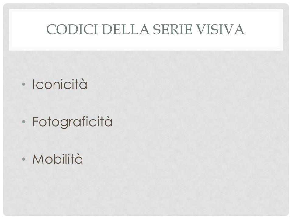 Iconicità Fotograficità Mobilità CODICI DELLA SERIE VISIVA
