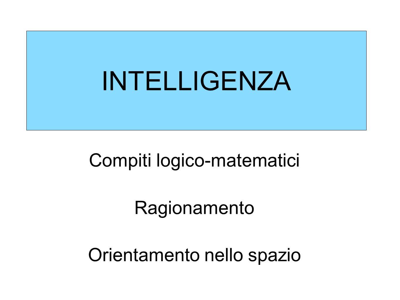 INTELLIGENZA Compiti logico-matematici Ragionamento Orientamento nello spazio