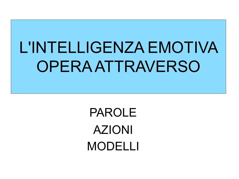 L'INTELLIGENZA EMOTIVA OPERA ATTRAVERSO PAROLE AZIONI MODELLI