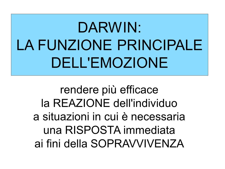 DARWIN: LA FUNZIONE PRINCIPALE DELL'EMOZIONE rendere più efficace la REAZIONE dell'individuo a situazioni in cui è necessaria una RISPOSTA immediata a