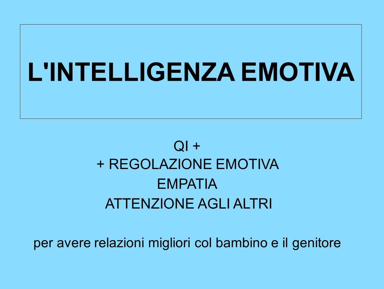 L'INTELLIGENZA EMOTIVA QI + + REGOLAZIONE EMOTIVA EMPATIA ATTENZIONE AGLI ALTRI per avere relazioni migliori col bambino e il genitore