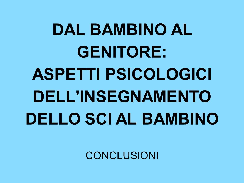 DAL BAMBINO AL GENITORE: ASPETTI PSICOLOGICI DELL'INSEGNAMENTO DELLO SCI AL BAMBINO CONCLUSIONI