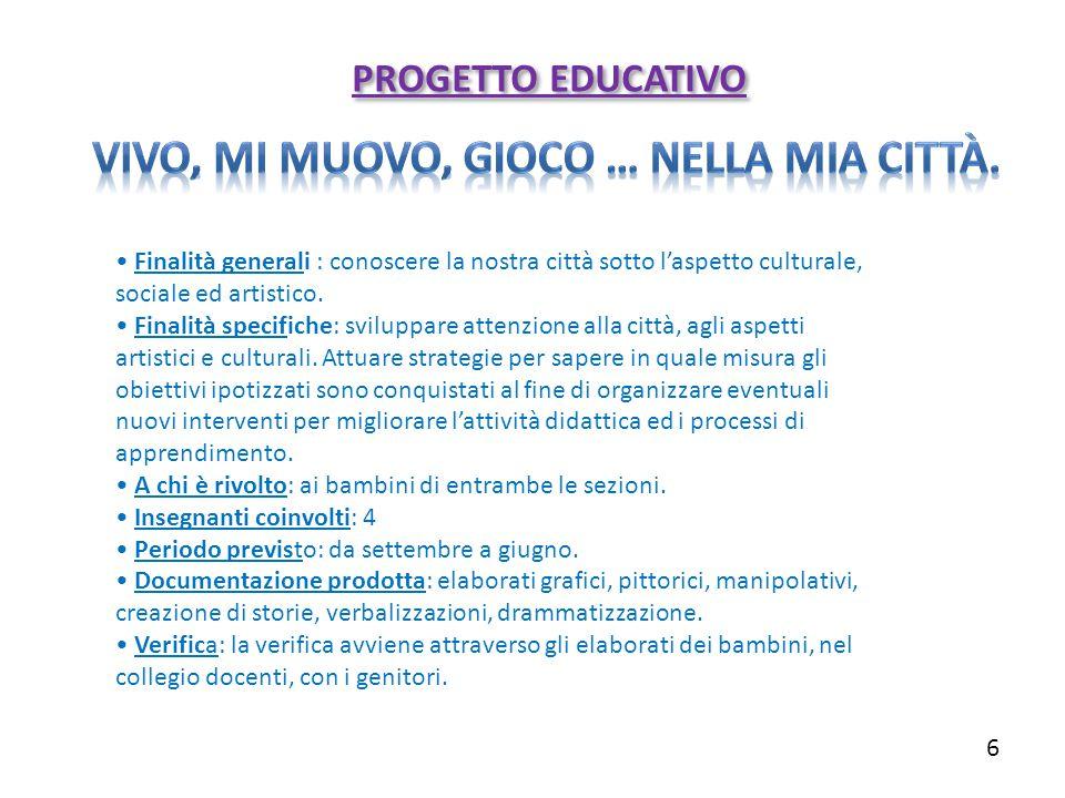 Finalità generali : conoscere la nostra città sotto l'aspetto culturale, sociale ed artistico. Finalità specifiche: sviluppare attenzione alla città,