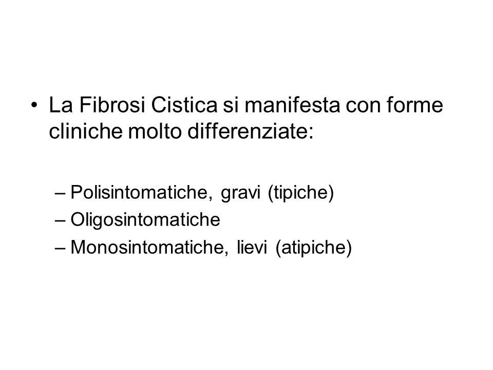 La Fibrosi Cistica si manifesta con forme cliniche molto differenziate: –Polisintomatiche, gravi (tipiche) –Oligosintomatiche –Monosintomatiche, lievi