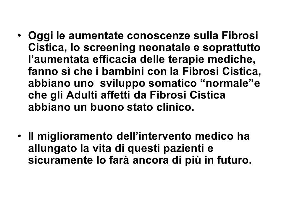 Oggi le aumentate conoscenze sulla Fibrosi Cistica, lo screening neonatale e soprattutto l'aumentata efficacia delle terapie mediche, fanno sì che i b