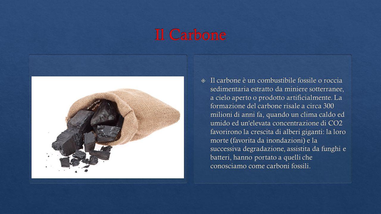  Il carbone è un combustibile fossile o roccia sedimentaria estratto da miniere sotterranee, a cielo aperto o prodotto artificialmente. La formazione