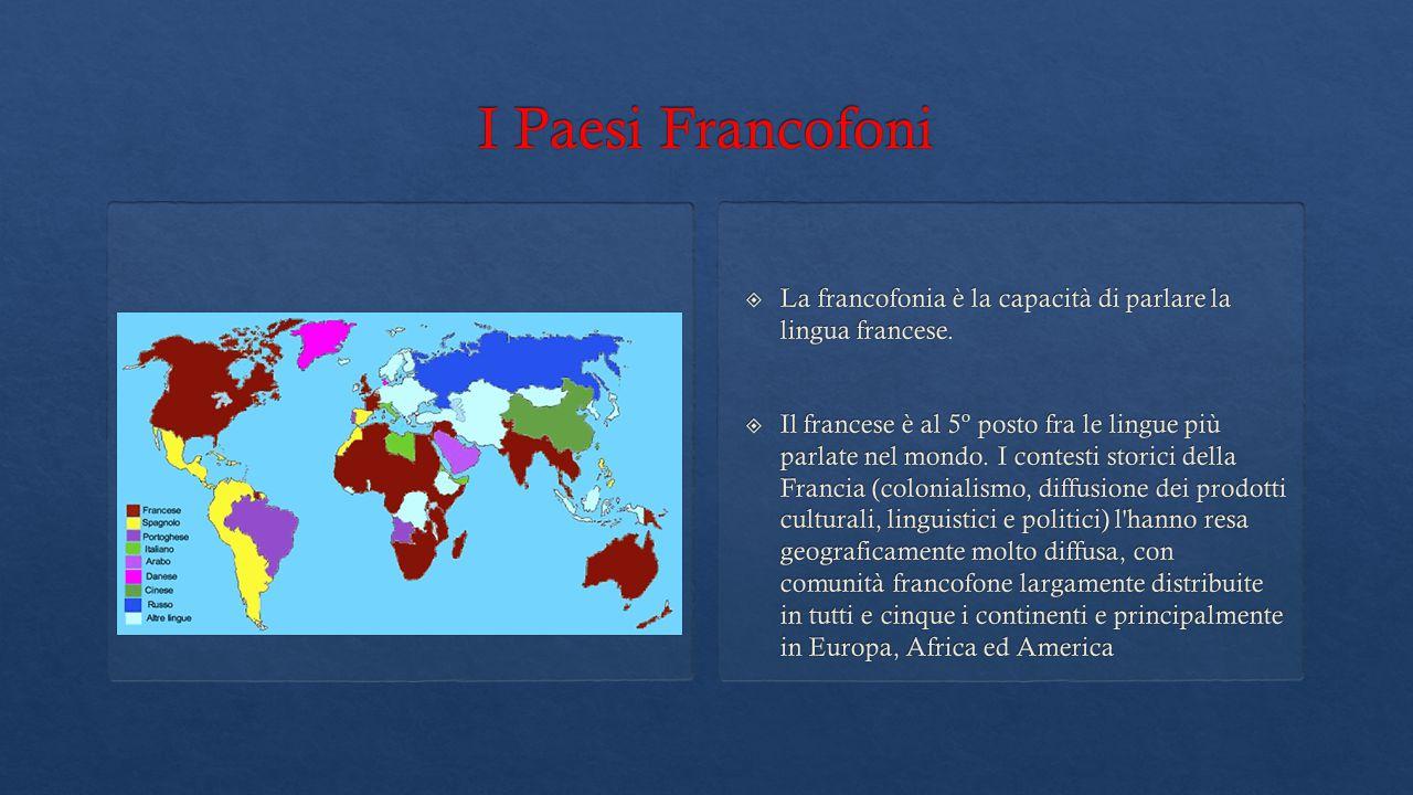  La francofonia è la capacità di parlare la lingua francese.  Il francese è al 5º posto fra le lingue più parlate nel mondo. I contesti storici dell