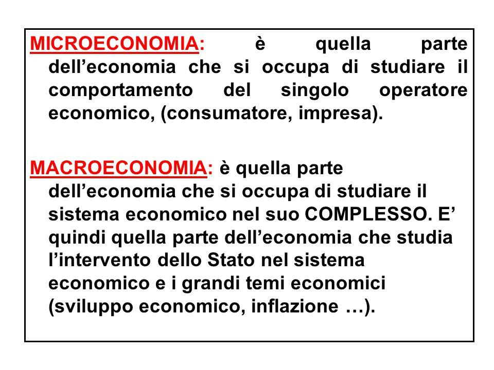 MICROECONOMIA: è quella parte dell'economia che si occupa di studiare il comportamento del singolo operatore economico, (consumatore, impresa).