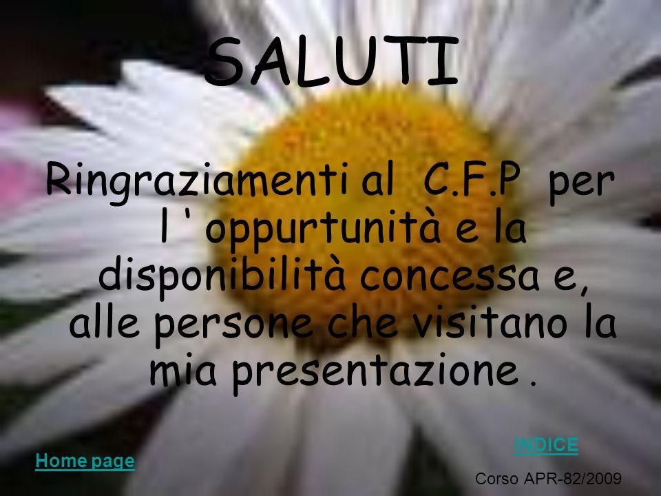SALUTI Ringraziamenti al C.F.P per l oppurtunità e la disponibilità concessa e, alle persone che visitano la mia presentazione. Corso APR-82/2009 Viol