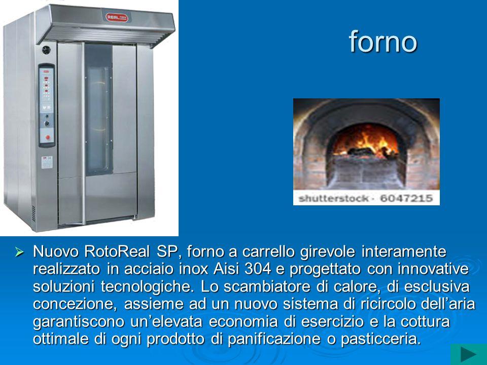 forno Nuovo RotoReal SP, forno a carrello girevole interamente realizzato in acciaio inox Aisi 304 e progettato con innovative soluzioni tecnologiche.