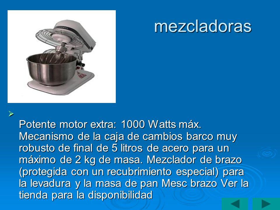 mezcladoras Potente motor extra: 1000 Watts máx. Mecanismo de la caja de cambios barco muy robusto de final de 5 litros de acero para un máximo de 2 k