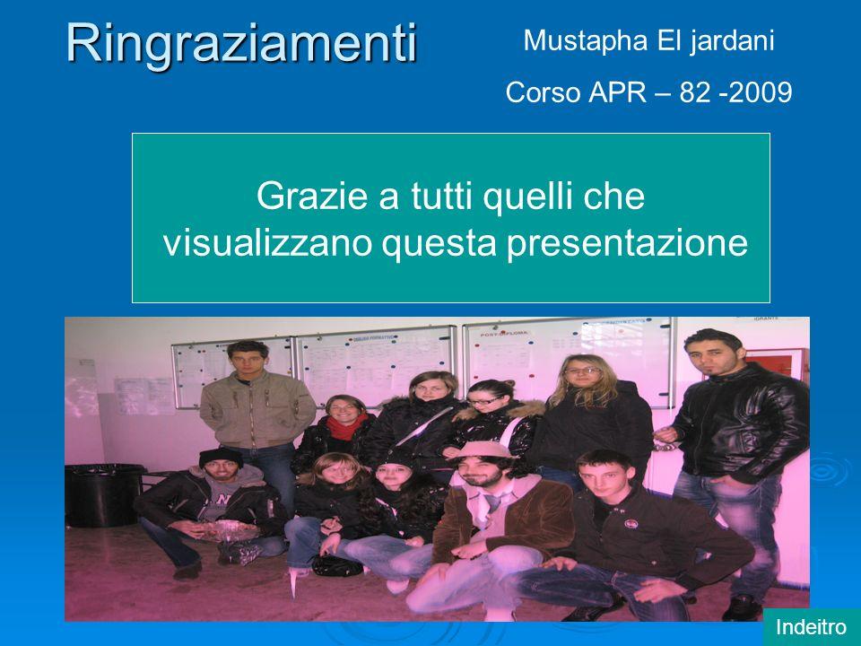 Ringraziamenti Grazie a tutti quelli che visualizzano questa presentazione Mustapha El jardani Corso APR – 82 -2009 Indeitro