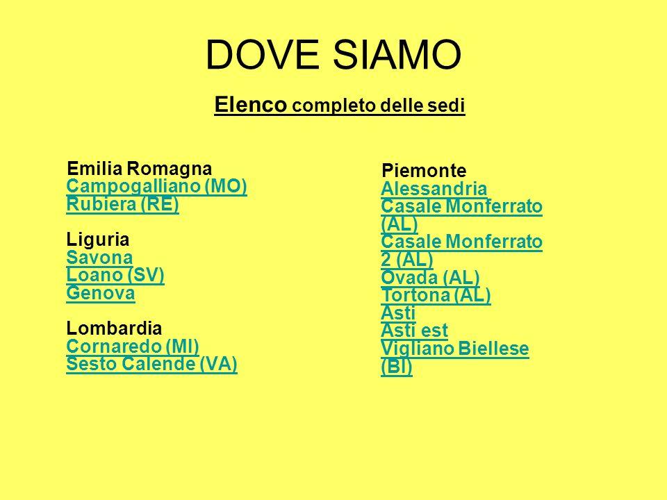 DOVE SIAMO Emilia Romagna Campogalliano (MO) Rubiera (RE) Liguria Savona Loano (SV) Genova Lombardia Cornaredo (MI) Sesto Calende (VA) Campogalliano (