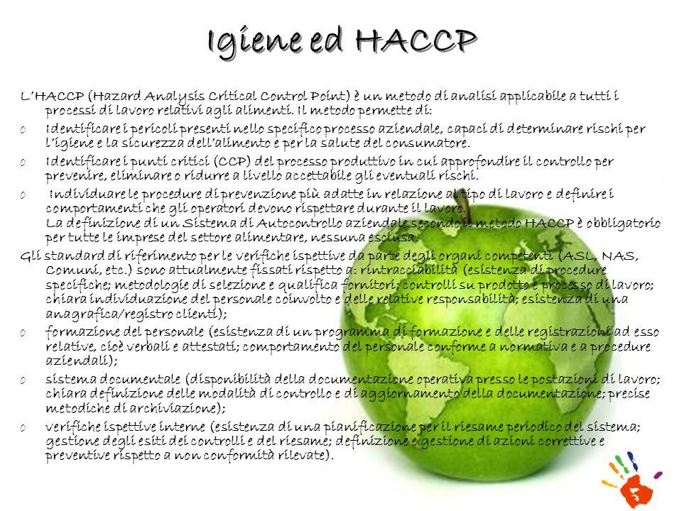 Igiene ed HACCP LHACCP (Hazard Analysis Critical Control Point) è un metodo di analisi applicabile a tutti i processi di lavoro relativi agli alimenti