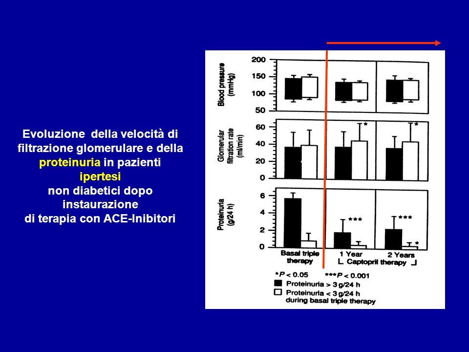 Evoluzione della velocità di filtrazione glomerulare e della proteinuria in pazienti ipertesi non diabetici dopo instaurazione di terapia con ACE-Inib