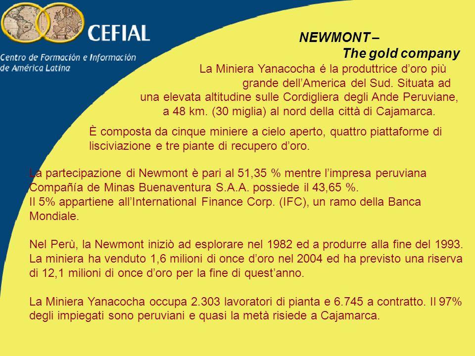 NEWMONT – The gold company La Miniera Yanacocha é la produttrice doro più grande dellAmerica del Sud.