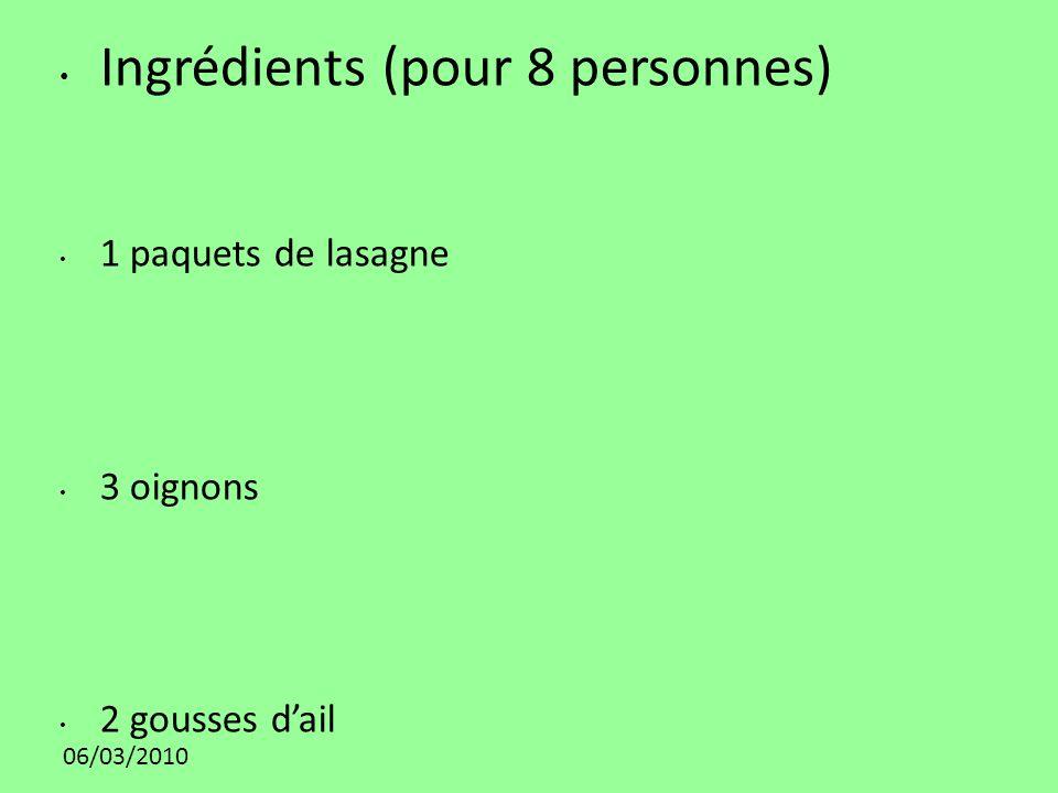 06/03/2010 Ingrédients (pour 8 personnes) 1 paquets de lasagne 3 oignons 2 gousses dail