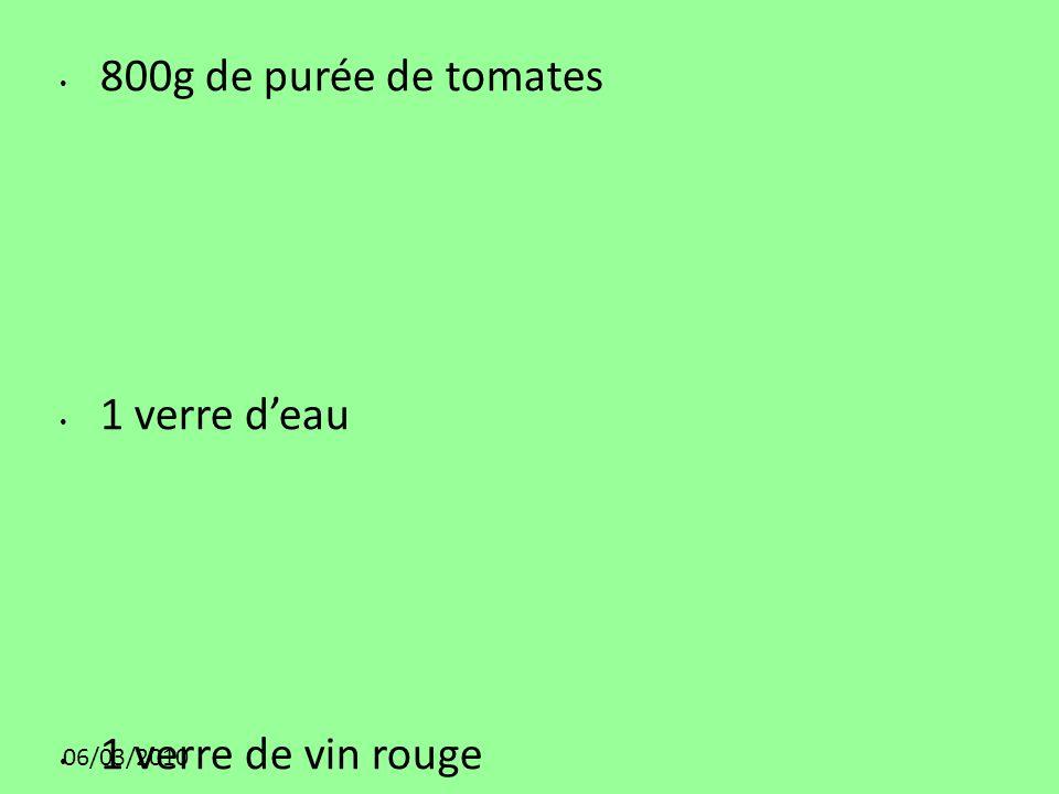 06/03/2010 800g de purée de tomates 1 verre deau 1 verre de vin rouge