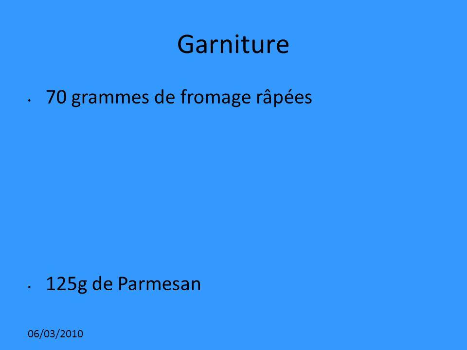 06/03/2010 Garniture 70 grammes de fromage râpées 125g de Parmesan