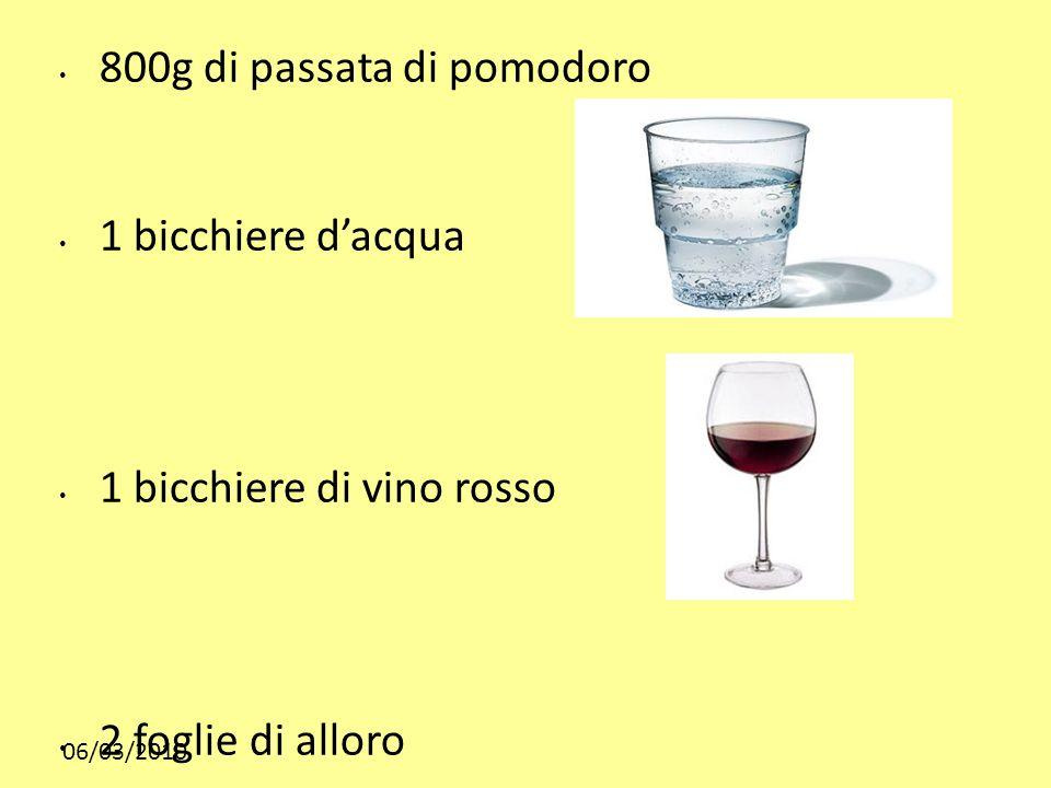 06/03/2010 800g di passata di pomodoro 1 bicchiere dacqua 1 bicchiere di vino rosso 2 foglie di alloro