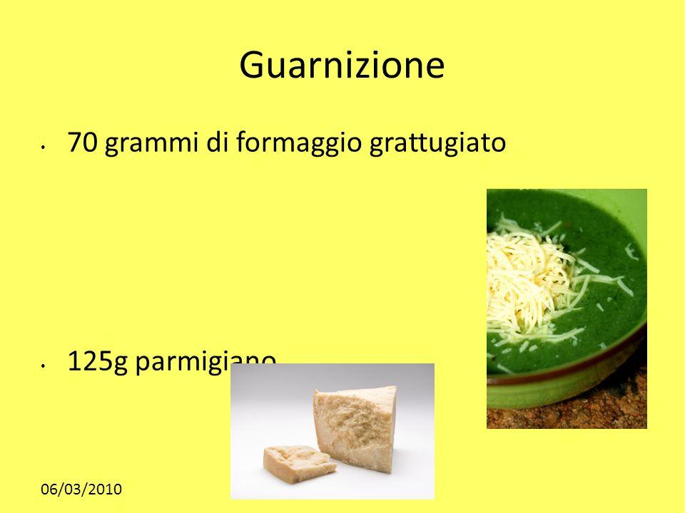 06/03/2010 Guarnizione 70 grammi di formaggio grattugiato 125g parmigiano