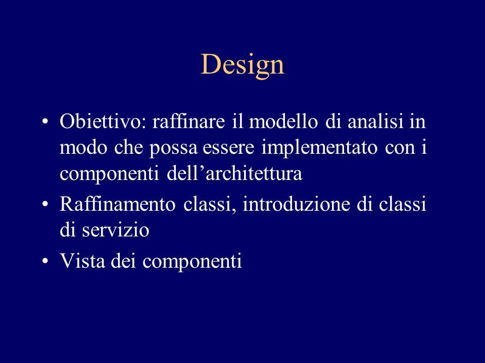 Design Obiettivo: raffinare il modello di analisi in modo che possa essere implementato con i componenti dellarchitettura Raffinamento classi, introduzione di classi di servizio Vista dei componenti