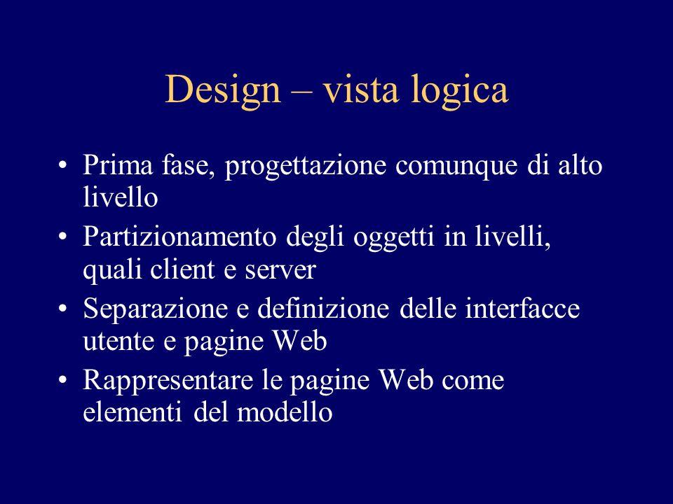 Design – vista logica Prima fase, progettazione comunque di alto livello Partizionamento degli oggetti in livelli, quali client e server Separazione e definizione delle interfacce utente e pagine Web Rappresentare le pagine Web come elementi del modello