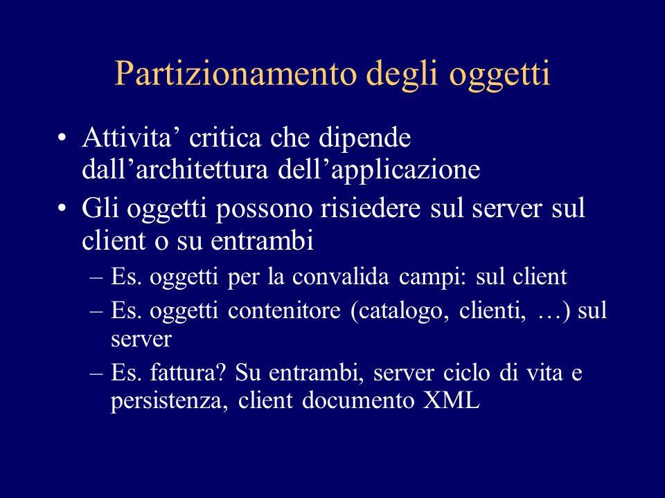 Partizionamento degli oggetti Attivita critica che dipende dallarchitettura dellapplicazione Gli oggetti possono risiedere sul server sul client o su entrambi –Es.