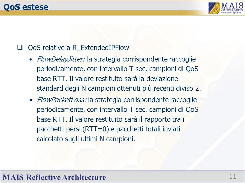 MAIS Reflective Architecture 11 QoS estese QoS relative a R_ExtendedIPFlow FlowDelayJitter: la strategia corrispondente raccoglie periodicamente, con intervallo T sec, campioni di QoS base RTT.