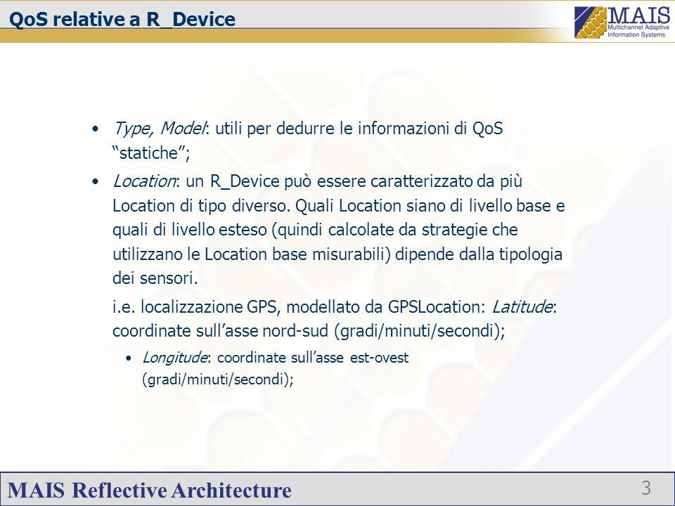 MAIS Reflective Architecture 4 QoS QoS relative a R_CPU ClockRate: frequenza con la quale il processore esegue operazioni elementari (MHz); Model: modello della CPU (nome simbolico); Usage: grado di uso corrente della CPU, misurato come media su un periodo di tempo (%); QoS relative a R_Memory Type: tipo della memoria; Total: quantità totale di memoria (MB); Available: memoria disponibile, non ancora utilizzata (MB); ClockRate: frequenza di accesso alla memoria (MHz);