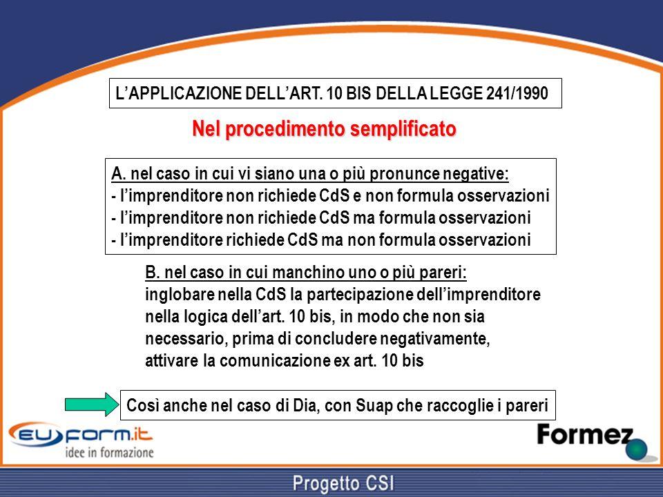 LAPPLICAZIONE DELLART. 10 BIS DELLA LEGGE 241/1990 Nel procedimento semplificato A. nel caso in cui vi siano una o più pronunce negative: - limprendit