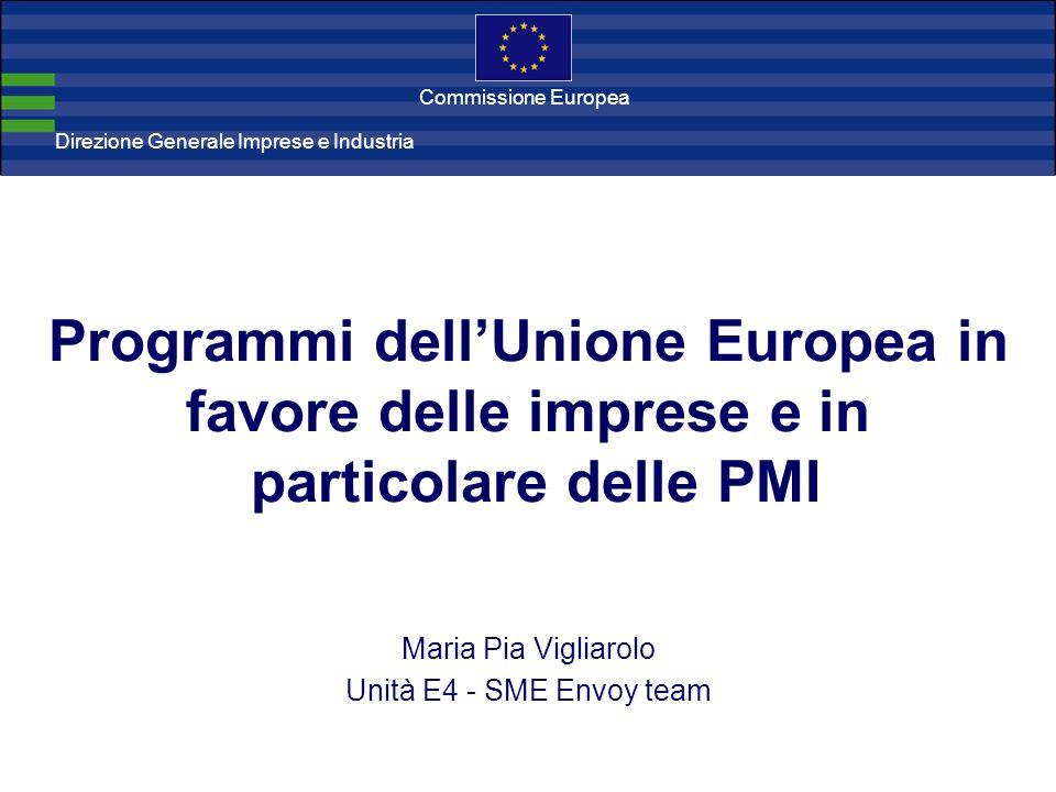 Direzione Generale Imprese Direzione Generale Imprese e Industria Commissione Europea Programmi dellUnione Europea in favore delle imprese e in partic