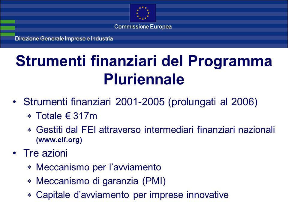 Direzione Generale Imprese Direzione Generale Imprese e Industria Commissione Europea Strumenti finanziari del Programma Pluriennale Strumenti finanzi