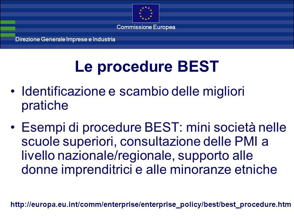Direzione Generale Imprese Direzione Generale Imprese e Industria Commissione Europea Le procedure BEST Identificazione e scambio delle migliori prati