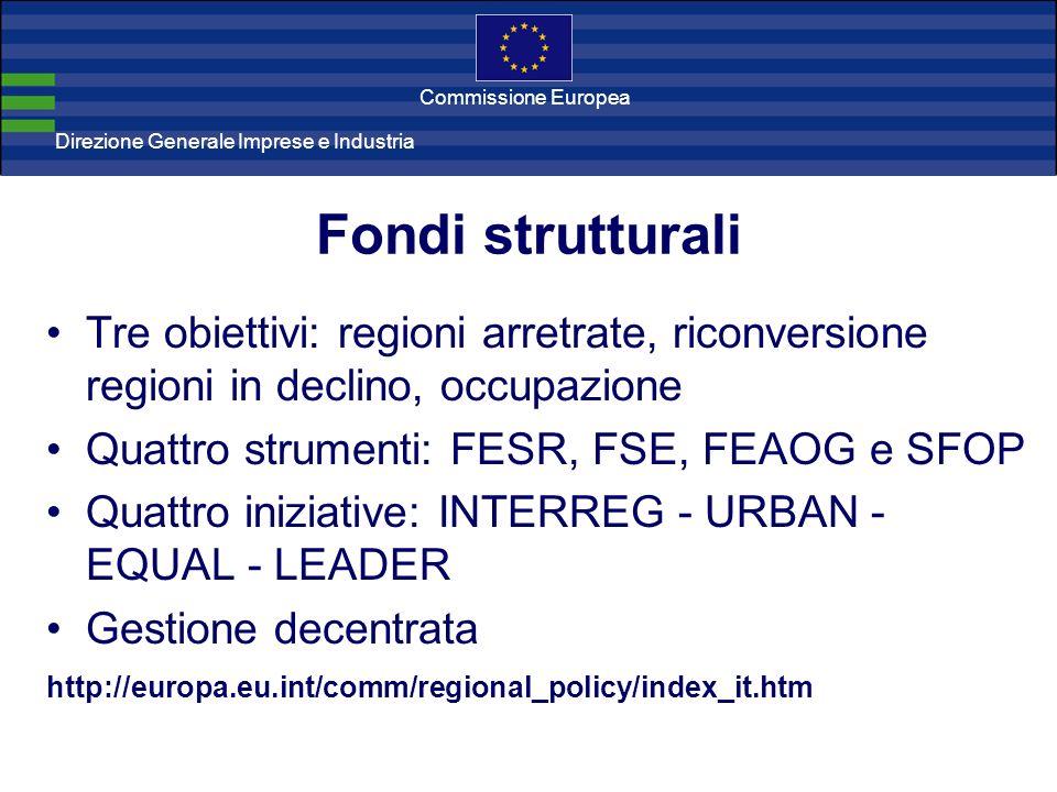 Direzione Generale Imprese Direzione Generale Imprese e Industria Commissione Europea Fondi strutturali Tre obiettivi: regioni arretrate, riconversion