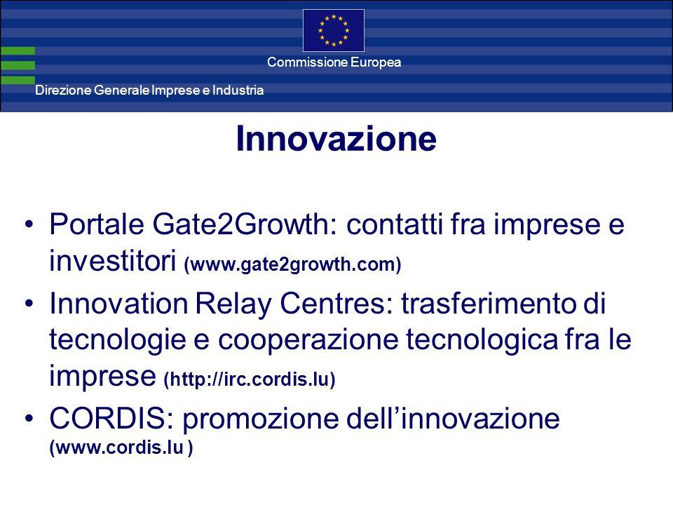 Direzione Generale Imprese Direzione Generale Imprese e Industria Commissione Europea Innovazione Portale Gate2Growth: contatti fra imprese e investit