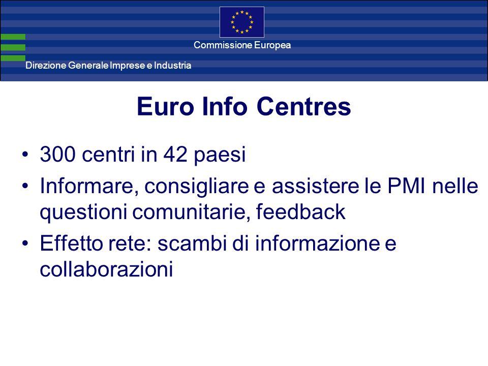 Direzione Generale Imprese Direzione Generale Imprese e Industria Commissione Europea Euro Info Centres 300 centri in 42 paesi Informare, consigliare