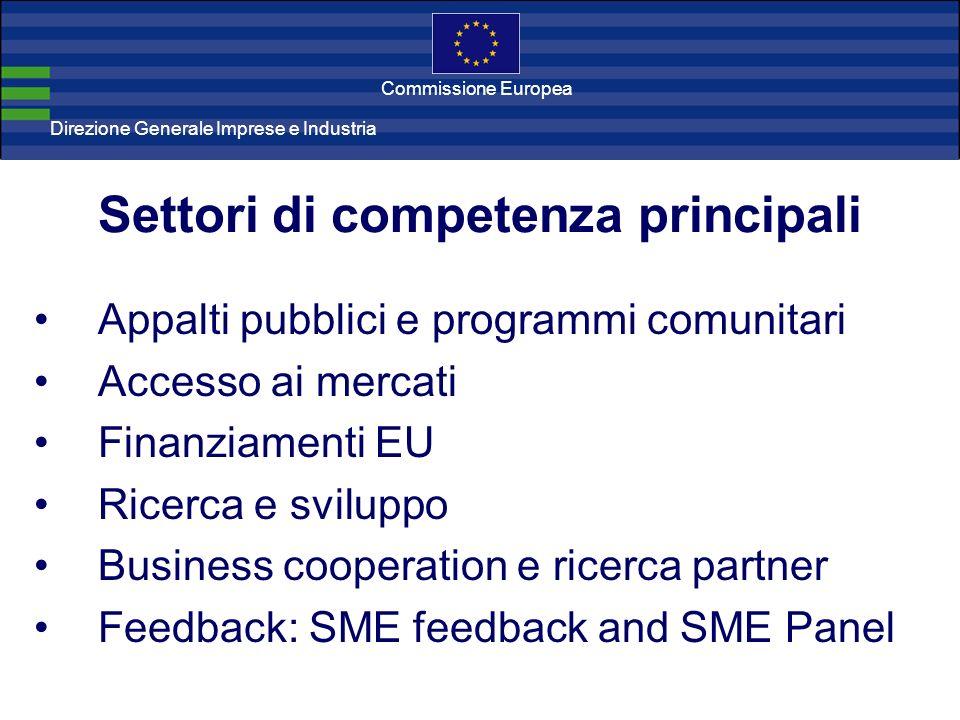 Direzione Generale Imprese Direzione Generale Imprese e Industria Commissione Europea Appalti pubblici e programmi comunitari Accesso ai mercati Finan