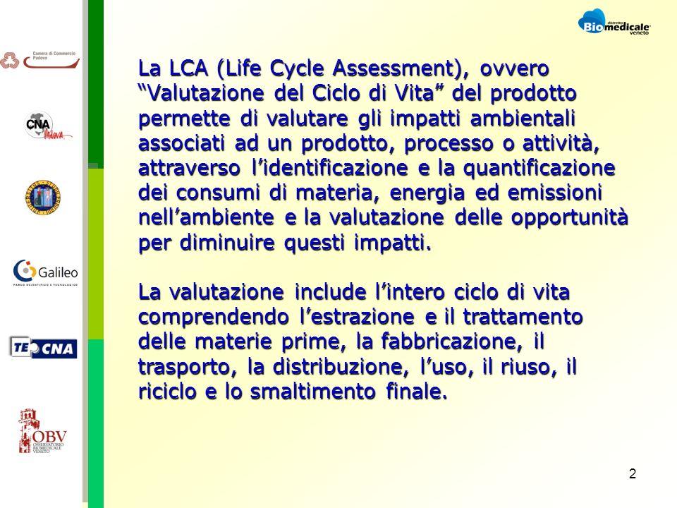 2 La LCA (Life Cycle Assessment), ovvero Valutazione del Ciclo di Vita del prodotto permette di valutare gli impatti ambientali associati ad un prodotto, processo o attività, attraverso lidentificazione e la quantificazione dei consumi di materia, energia ed emissioni nellambiente e la valutazione delle opportunità per diminuire questi impatti.