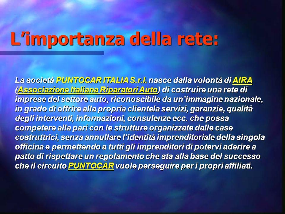 Limportanza della rete: La società PUNTOCAR ITALIA S.r.l. nasce dalla volontà di AIRA (Associazione Italiana Riparatori Auto) di costruire una rete di