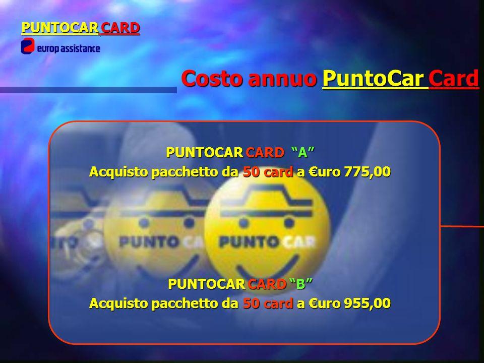 Costo annuo PuntoCar Card PUNTOCAR CARD PUNTOCAR CARD A Acquisto pacchetto da 50 card a uro 775,00 PUNTOCAR CARD B Acquisto pacchetto da 50 card a uro