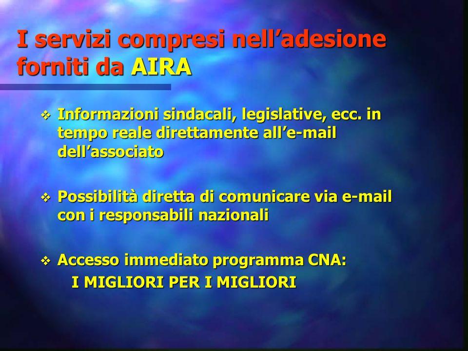 I servizi compresi nelladesione forniti da AIRA Informazioni sindacali, legislative, ecc. in tempo reale direttamente alle-mail dellassociato Informaz