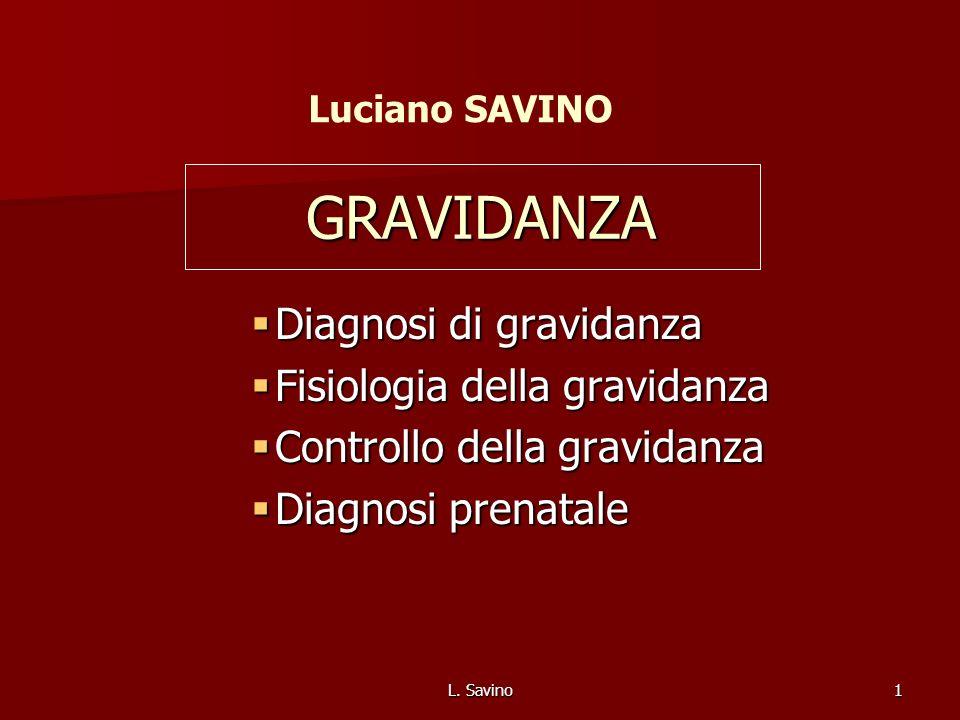 L. Savino1 GRAVIDANZA Diagnosi di gravidanza Diagnosi di gravidanza Fisiologia della gravidanza Fisiologia della gravidanza Controllo della gravidanza