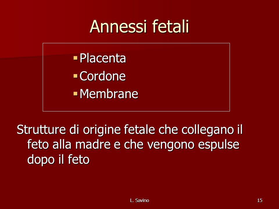 L. Savino15 Annessi fetali Placenta Placenta Cordone Cordone Membrane Membrane Strutture di origine fetale che collegano il feto alla madre e che veng