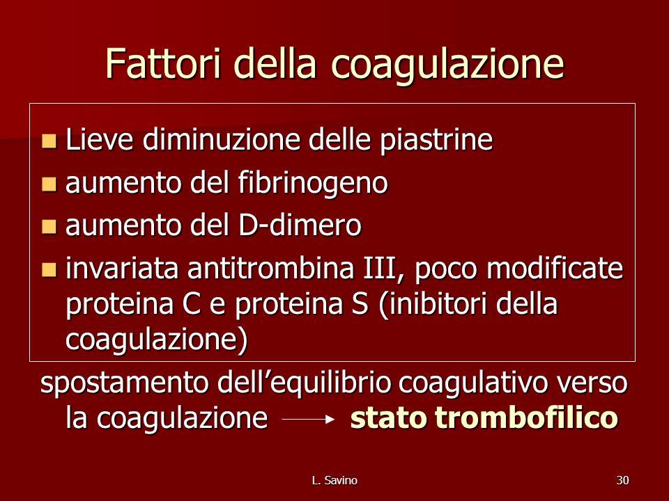 L. Savino30 Fattori della coagulazione Lieve diminuzione delle piastrine Lieve diminuzione delle piastrine aumento del fibrinogeno aumento del fibrino