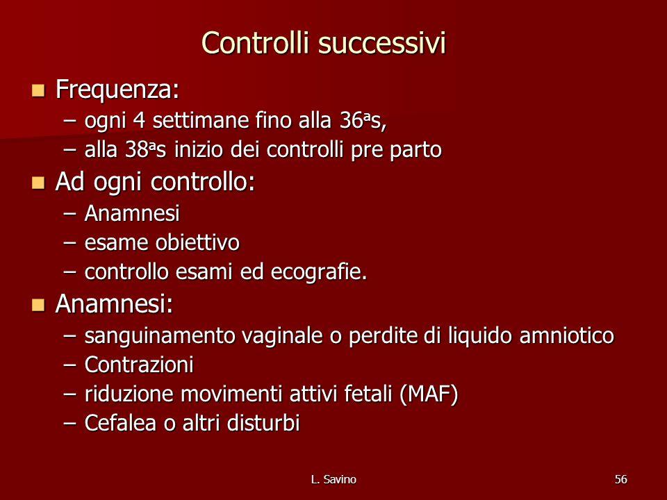 L. Savino56 Controlli successivi Frequenza: Frequenza: –ogni 4 settimane fino alla 36 a s, –alla 38 a s inizio dei controlli pre parto Ad ogni control