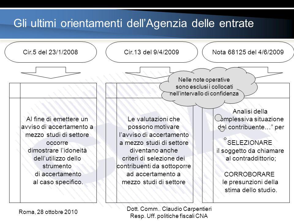 Gli ultimi orientamenti dellAgenzia delle entrate Cir.5 del 23/1/2008Cir.13 del 9/4/2009Nota 68125 del 4/6/2009 Al fine di emettere un avviso di accertamento a mezzo studi di settore occorre dimostrare lidoneità dellutilizzo dello strumento di accertamento al caso specifico.