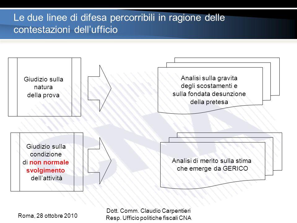 Le due linee di difesa percorribili in ragione delle contestazioni dellufficio Roma, 28 ottobre 2010 Dott.